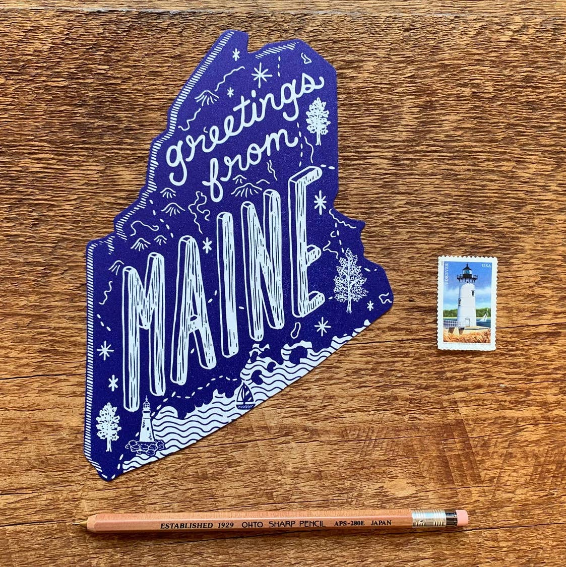 Noteworthy Paper and Press NPP PC - Greetings From Maine Postcard, Navy