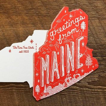 Noteworthy Paper and Press - NPP NPP PC - Greetings From Maine Postcard, Red