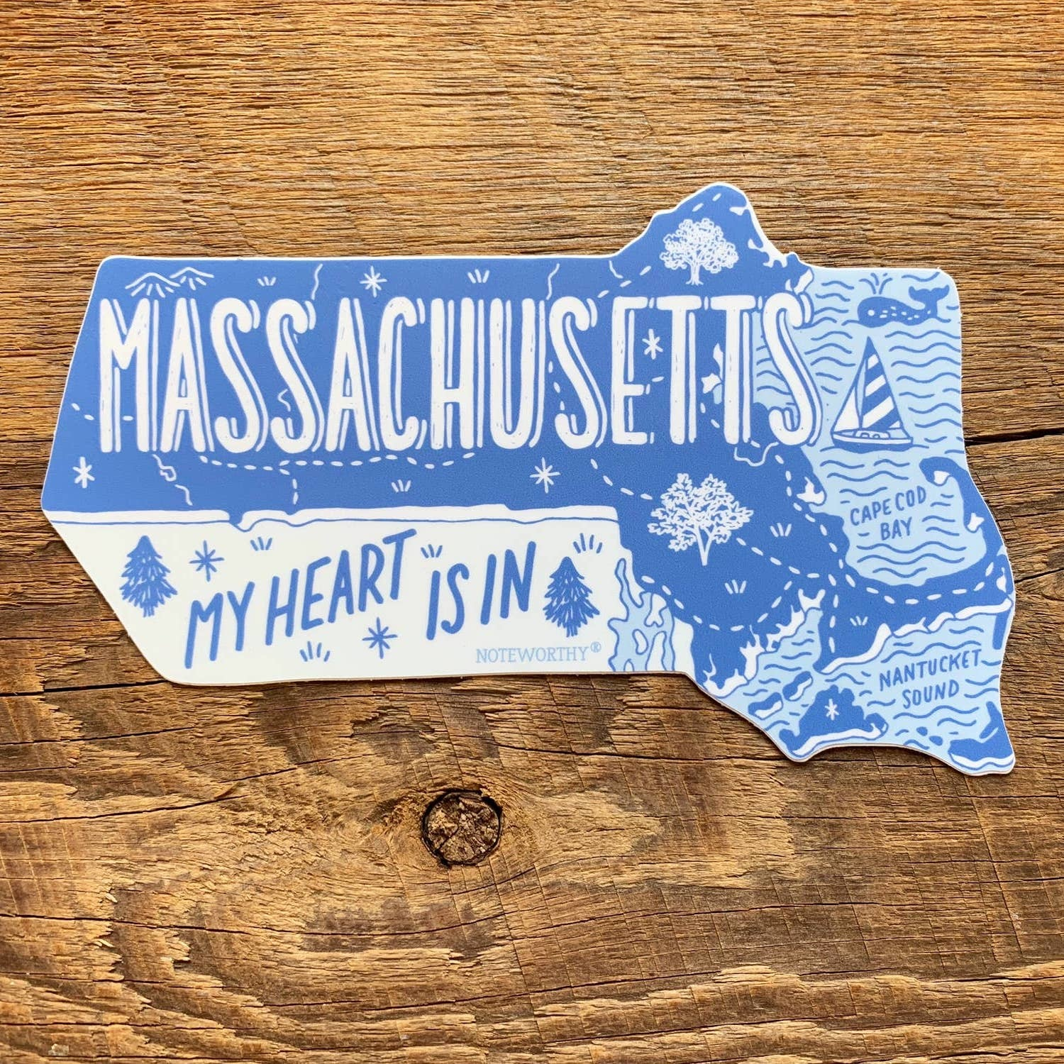 Noteworthy Paper and Press My Heart is in Massachusetts State Sticker