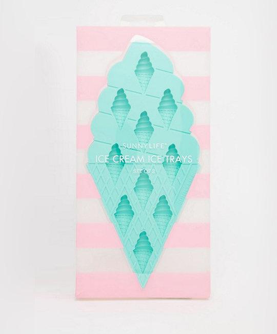 Sunnylife Ice Cream Ice Cube Trays, set of 2, pink + turquoise