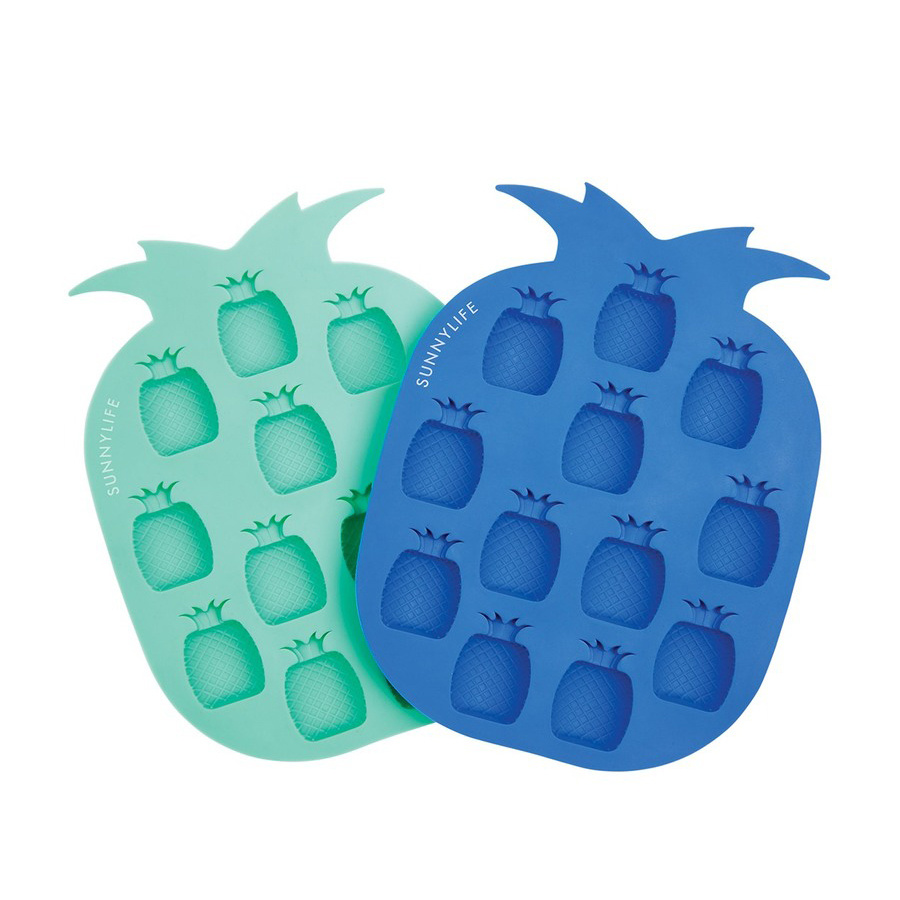 Sunnylife Pineapple Ice Cube Trays, set of 2, turquoise + navy