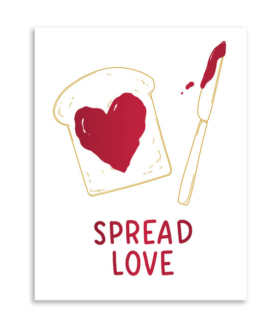 Gus and Ruby Letterpress - GR Gus & Ruby - Spread Love, red foil