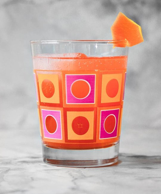 The Modern Home Bar MHB HG - Square Peg Orange + Pink Double Old Fashioned Glass