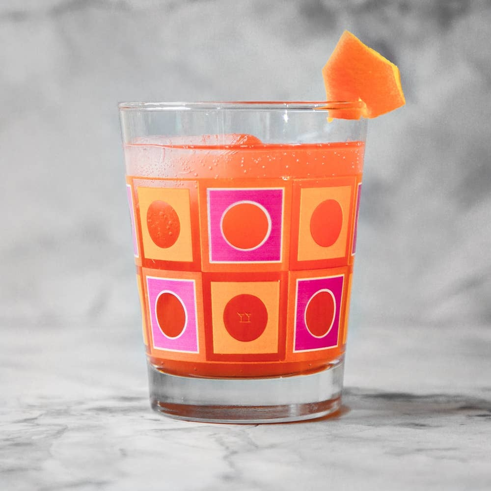 The Modern Home Bar - MHB MHB HG - Square Peg Orange + Pink Double Old Fashioned Glass