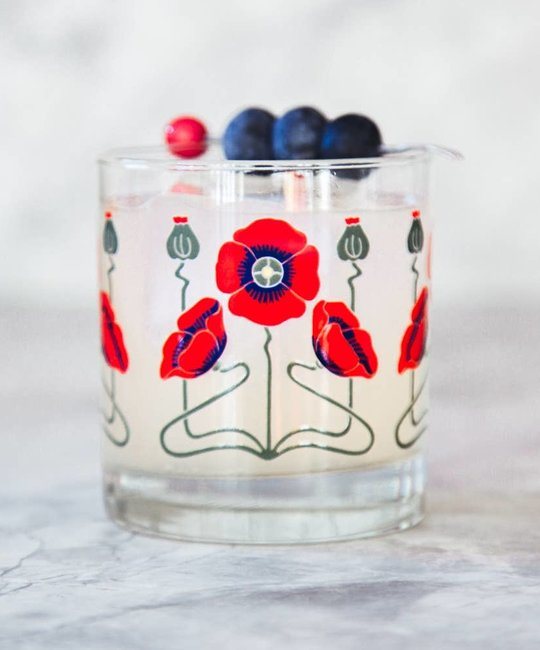 The Modern Home Bar MHB HG - Red Poppy Rocks Glass