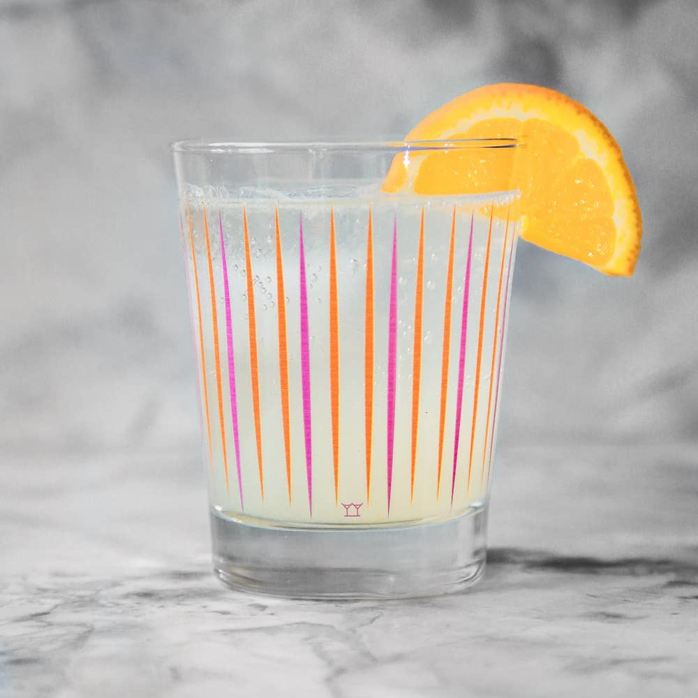 The Modern Home Bar MHB HG - Pick Me Orange + Pink Double Old Fashioned Glass