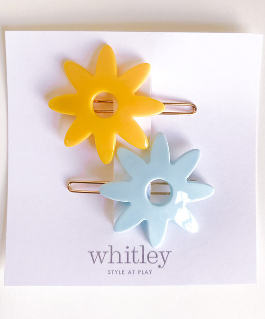Whitley yellow + blue flower hair clip duo