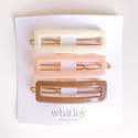 Whitley rectangle clip trio in cream, blush and taupe