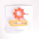 Whitley rose sun + yellow rectangle hair clip duo