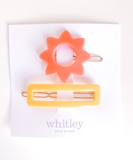 Whitley - WH rose sun + yellow rectangle hair clip duo