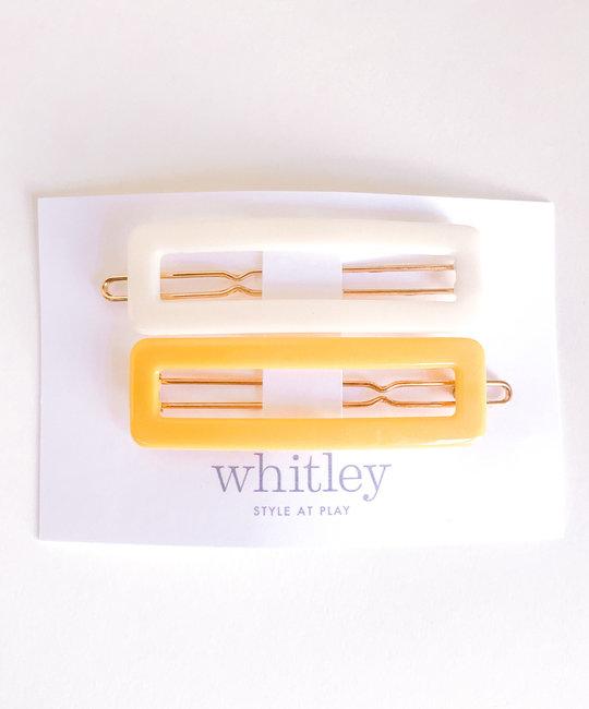 Whitley cream + yellow rectangle hair clip duo