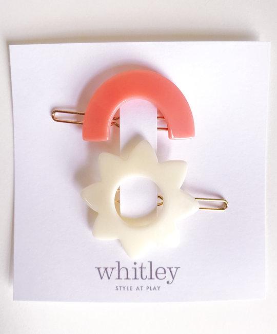 Whitley rose rainbow + white sun hair clip duo