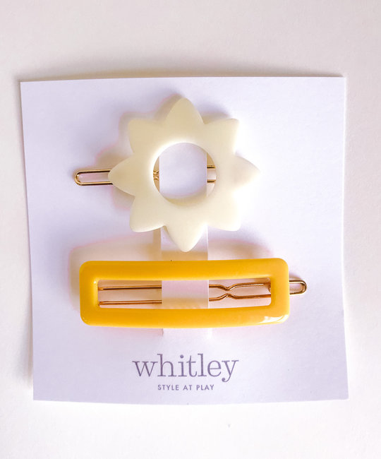 Whitley - WH white sun + yellow rectangle hair clip duo