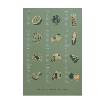 Young America Creative Mid-Green Fruit and Vegetable Print, 13x19