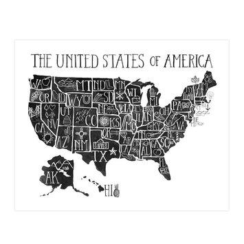 one canoe two letterpress USA Map Print, 16x20