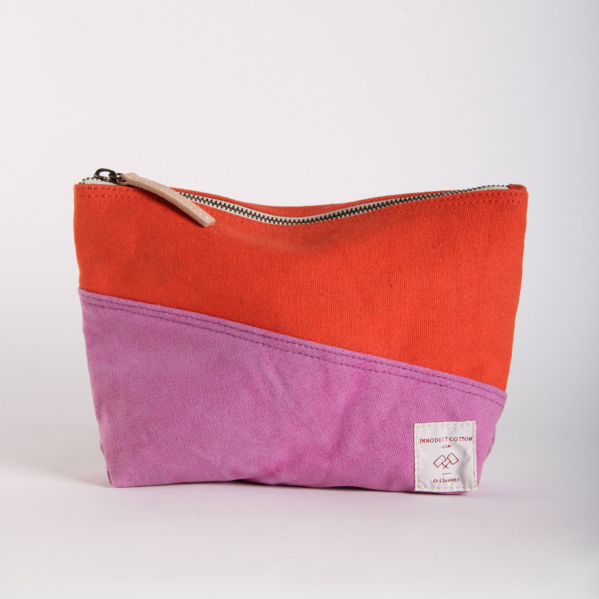 IMMODEST COTTON x Fleabags Bicolor Sardine Pouch, Rhubarb