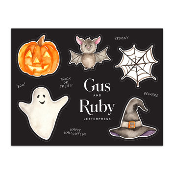 Gus and Ruby Letterpress - GR Gus & Ruby - Halloween Sticker Sheet