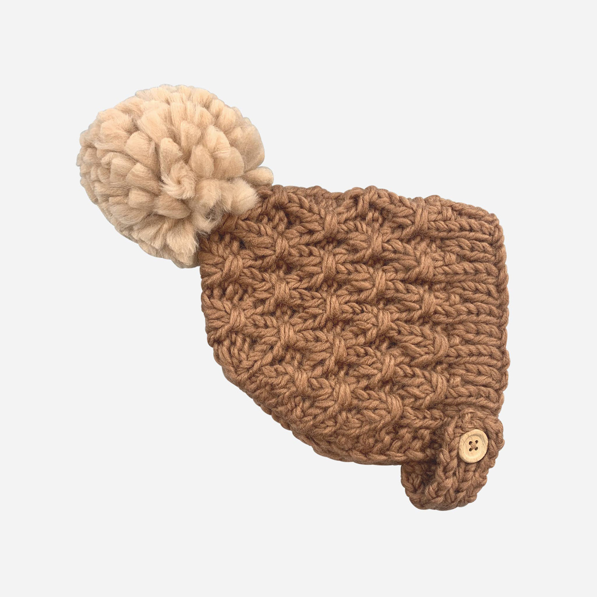 The Blueberry Hill - BH Libby Knit Bonnet, Pecan + Latte, 12-24 month
