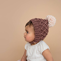 The Blueberry Hill - BH Libby Knit Bonnet, Pecan + Latte, 12-24 month