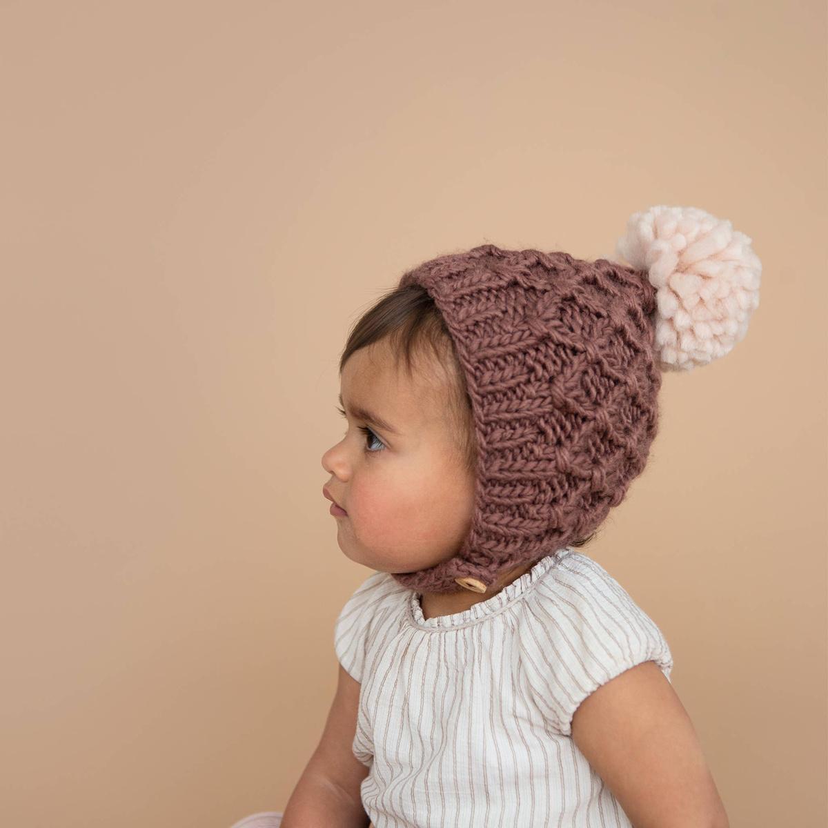 The Blueberry Hill - BH Libby Knit Bonnet, Mauve + Pink, 12-24 month