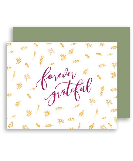 Gus and Ruby Letterpress - GR Forever Grateful, Foil Ferns