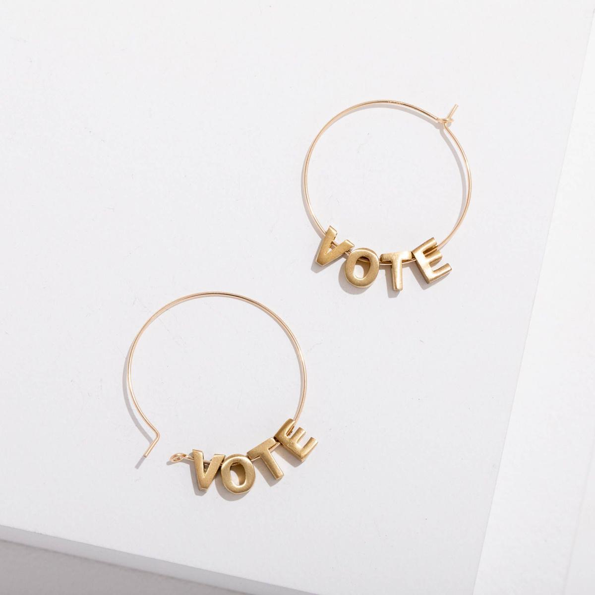 Larissa Loden Jewelry - LLJ Vote Earrings, 24k plated