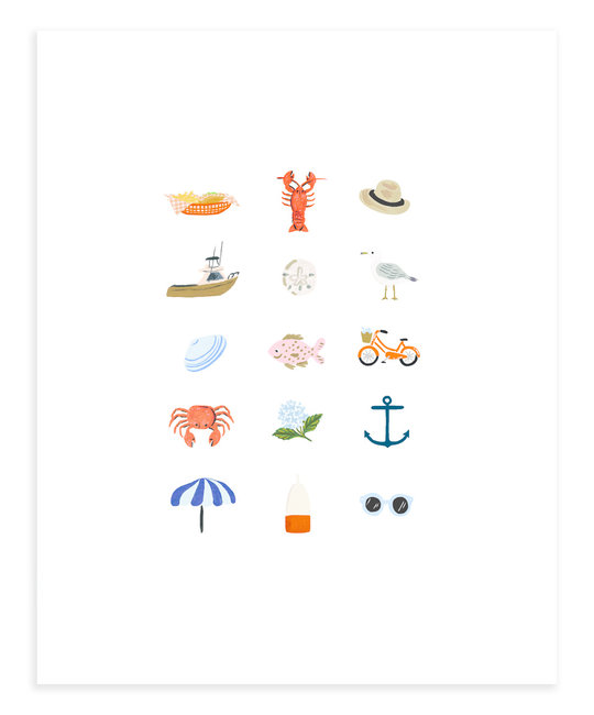 Rifle Paper Co - RP Rifle Paper Co - New England Things Print, 8 x 10 inch