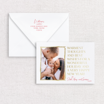 Gus and Ruby Letterpress - GR Warmest Thoughts Photo Custom Holiday Card