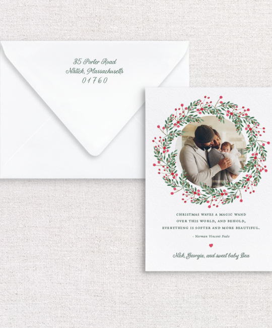 Gus and Ruby Letterpress - GR Wreath Photo Custom Holiday Card