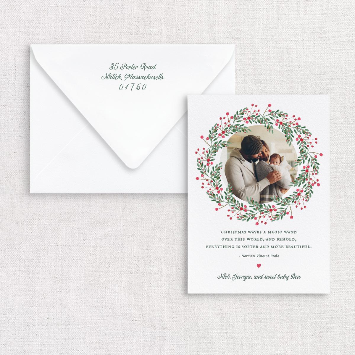 Gus and Ruby Letterpress - GR Wreath Photo Custom Holiday Card