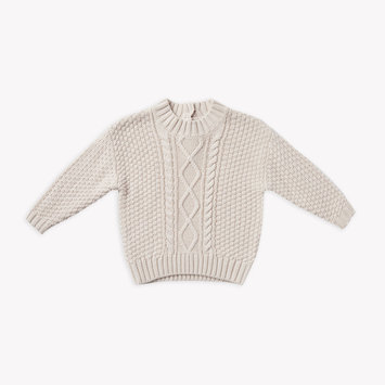 Quincy Mae - QM Quincy Mae - Cable Knit Sweater in Pebble