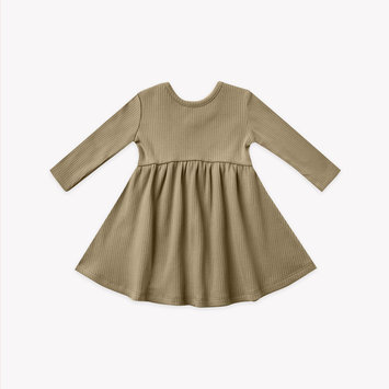 Quincy Mae - QM Quincy Mae - Ribbed Longsleeve Dress in Olive