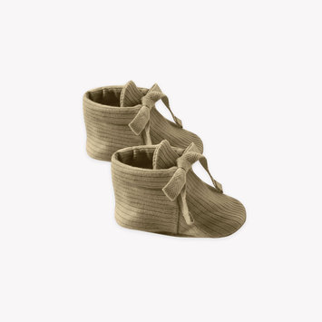 Quincy Mae - QM Quincy Mae - Ribbed Baby Booties in Olive