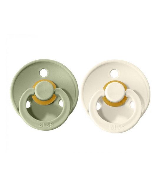 Mushie - MU Bibs: Sage and Vanilla Pacifier Set, 0-6 Months