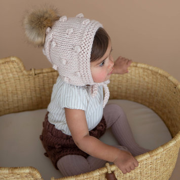 The Blueberry Hill - BH Coco Knit Bonnet, Dusty Rose, 3-12 month