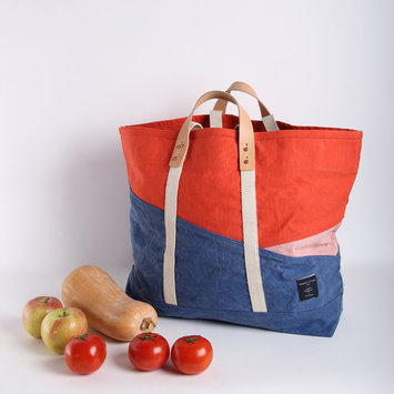 IMMODEST COTTON x Fleabags Tricolor Large East West Tote, Ocean-Persimmon-Pink