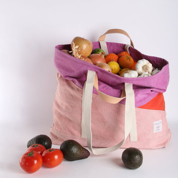 IMMODEST COTTON x Fleabags Tricolor Large East West Tote, Pink-Fuschia-Persimmon