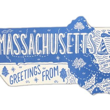 Noteworthy Paper and Press - NPP Greetings From Massachusetts Postcard