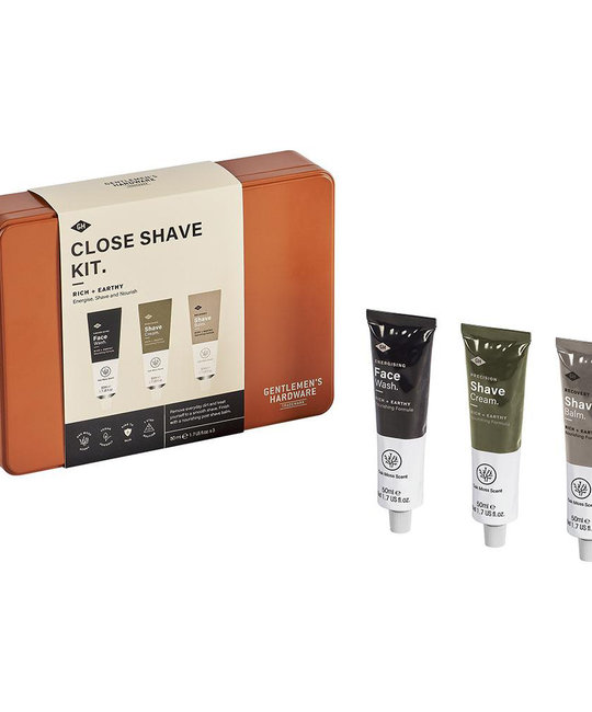Gentlemen's Hardware Close Shave Kit: Face Wash, Shave Cream and Shave Balm