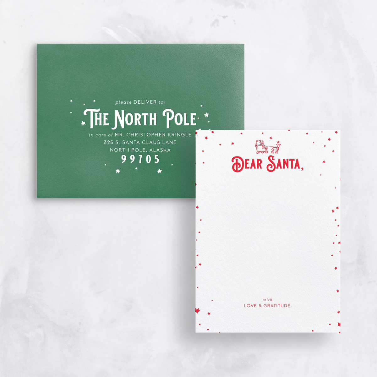 Gus and Ruby Letterpress - GR Letter to Santa