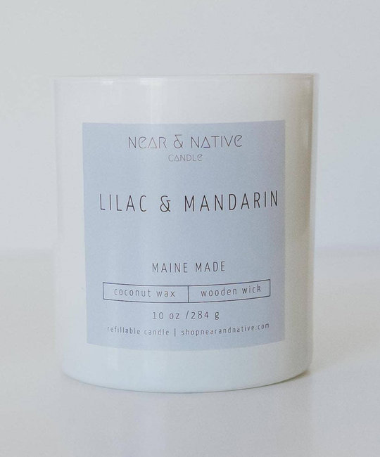 Near & Native Lilac & Mandarin Wood Wick Candle, Made in Maine