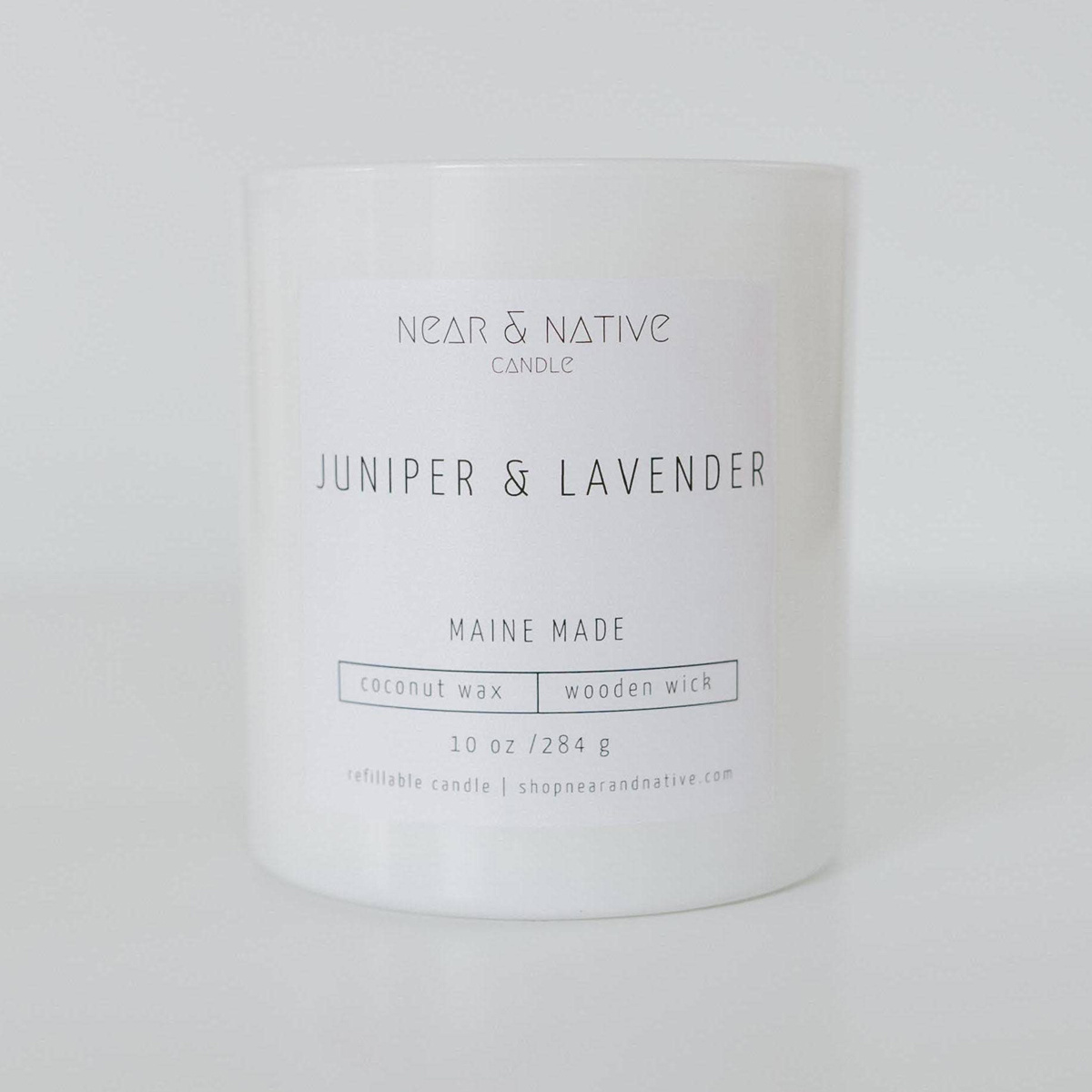 Near & Native Juniper and Lavender Wood Wick Candle, Made in Maine