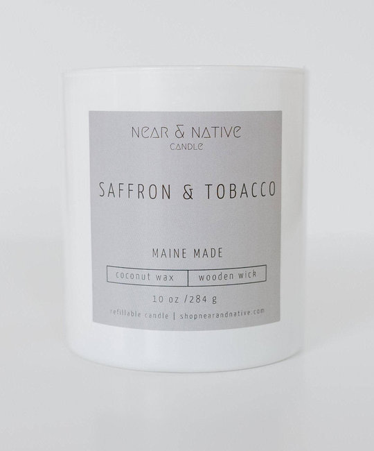 Near & Native Saffron & Tobacco Wood Wick Candle, Made in Maine