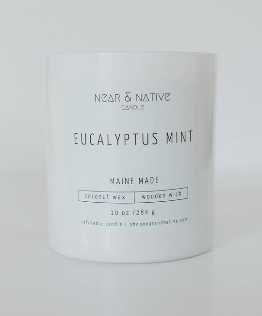 Near & Native Eucalyptus Mint Wood Wick Candle, Made in Maine