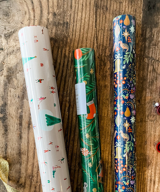 Gus and Ruby Letterpress - GR Pear Tree and Sugar Plum Set of 3 Wrapping Paper Rolls