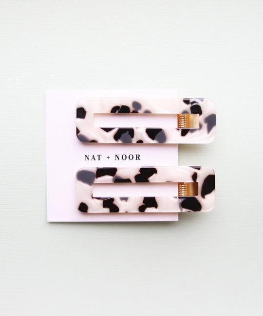 Nat + Noor - NAN Tortoise Hair Clips in Black + White, Set of 2