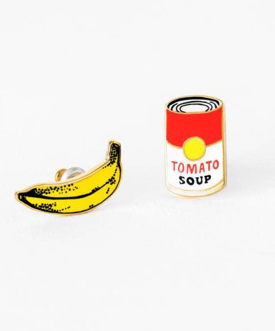 yellow owl workshop Pop Art Banana and Soup Earrings