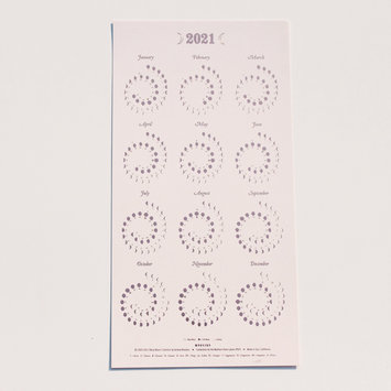 Margins Imprint 2021 Rose Gold on Blush Moon phase Calendar (unframed)