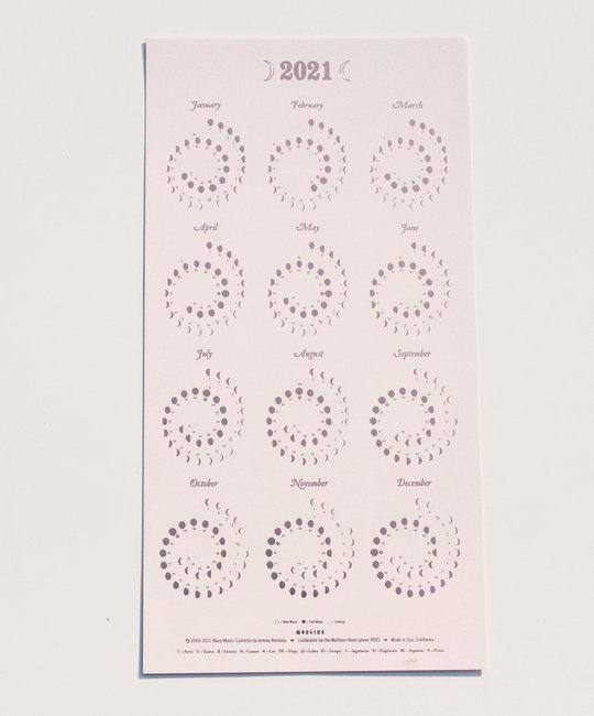 Margins Imprint - MAR 2021 Rose Gold on Blush Moon phase Calendar (unframed)