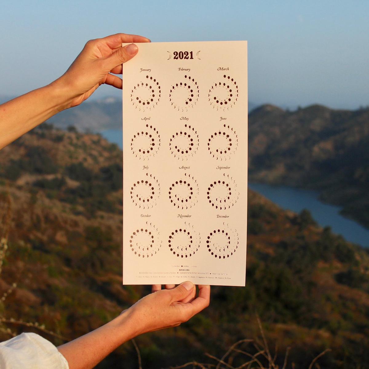 Margins Imprint 2021 Rose Gold on Blush Moon Phase Calendar - Framed